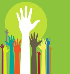 11196388 - background illustration with raised hands and copy space on green